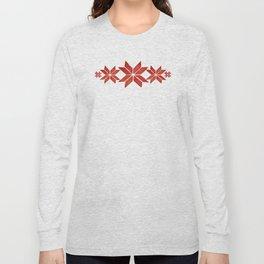 Scandinavian inspired print with red mini stars Long Sleeve T-shirt