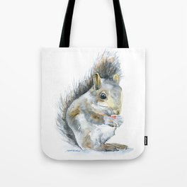 Gray Squirrel Watercolor Painting Tote Bag