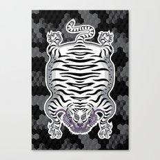 TIBETAN TIGER WHITE (black) Canvas Print