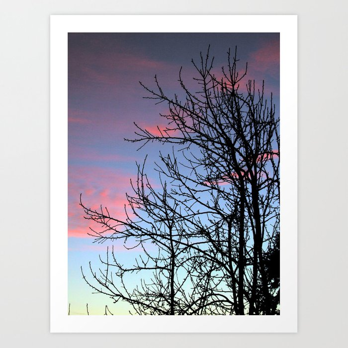 Skyscapes Pink Skies Silhouette Art Print