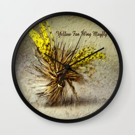 Yellow Fan Wing Mayfly Wall Clock