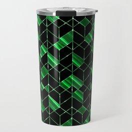Black, green geometric pattern. Travel Mug