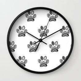 Mandala Dog Foodprint Wall Clock
