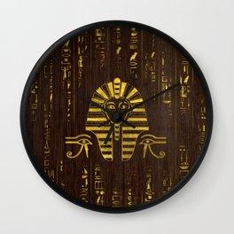 Golden Egyptian Sphinx and hieroglyphics on wood Wall Clock