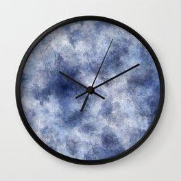 Navy Watercolor Fog Wall Clock