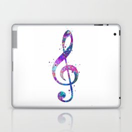 Treble Clef Sign Watercolor Print Blue Purple Wall Art Poster Music Poster Laptop & iPad Skin