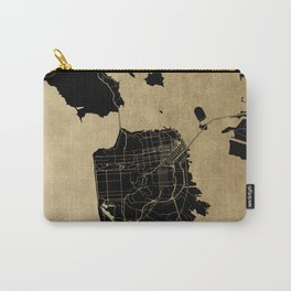 San Francisco California Black and Gold Map Carry-All Pouch