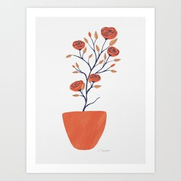 Potted Camellias Art Print