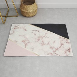 Rose Gold Marble & Navy Rug