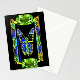 Lime Greenish Peridots Gems Jeweled Butterfly Design Stationery Cards