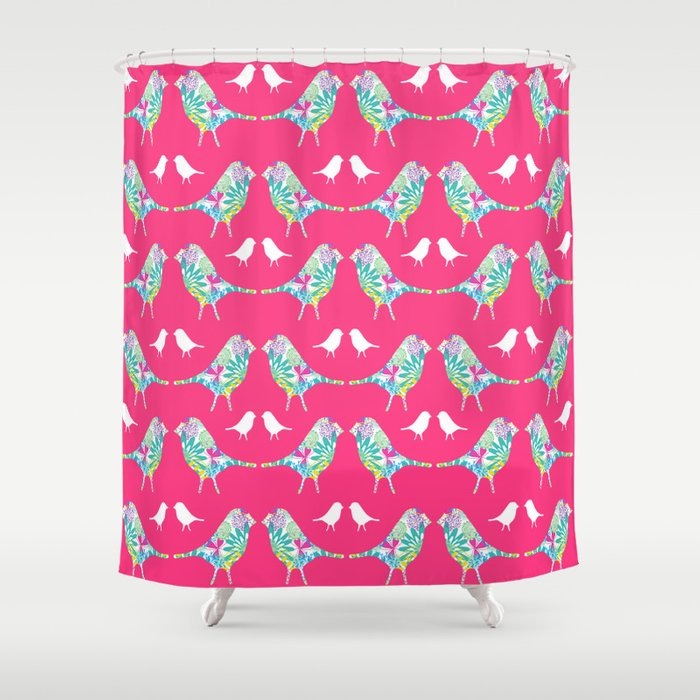 Pink Bird Print Shower Curtain By Jessiecooper
