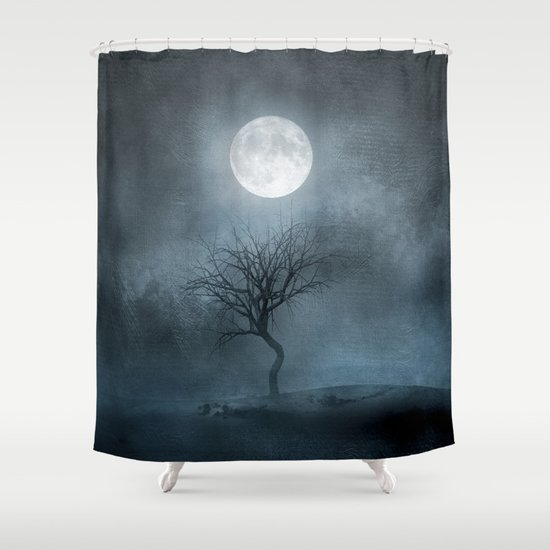Erie Moon and Tree Shower Curtain