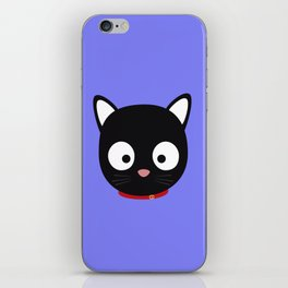 Cute black cat with red collar iPhone Skin