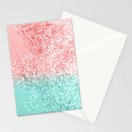 Summer Vibes Glitter #3 #coral #mint #shiny #decor #art #society6 Stationery Cards