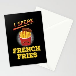 Speak French Fries Sticks Holder Hat Beard Gift Stationery Cards