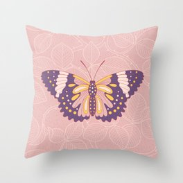 Butterfly in pink background from rose Throw Pillow