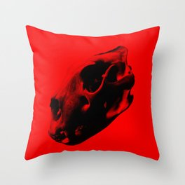 Red Lion Skull Throw Pillow