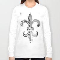 fleur de lis Long Sleeve T-shirts featuring Fleur De Lis - Drawing by neena