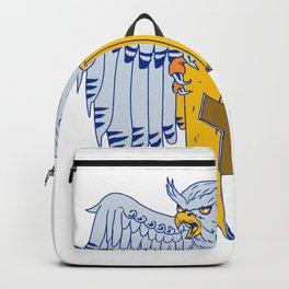 Horned Owl Clutching Spartan Helmet Drawing Backpack