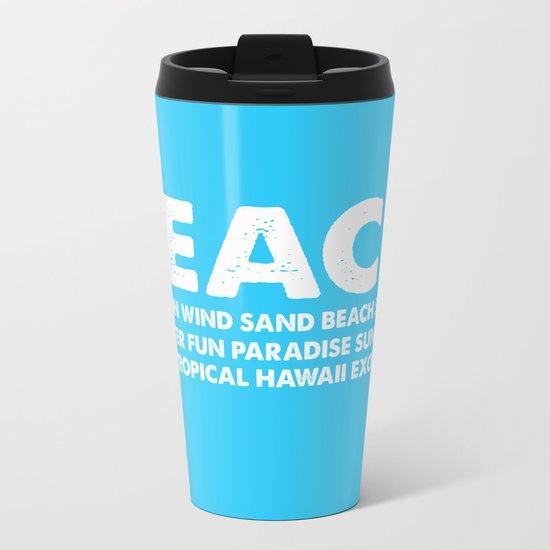 BEACH-white Typography on Aqua for your summer - Mix & Match Metal Travel Mug