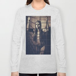 Woman naked in a iron cage Long Sleeve T-shirt