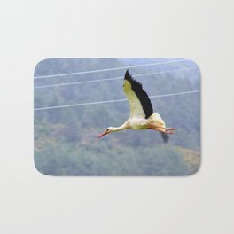Stork In Flight Bath Mat