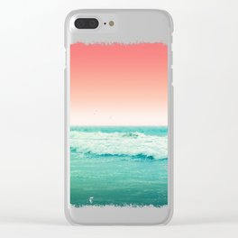 Aqua and Coral, 2 Clear iPhone Case
