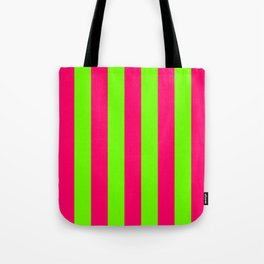 Bright Neon Green and Pink Vertical Cabana Tent Stripes Tote Bag
