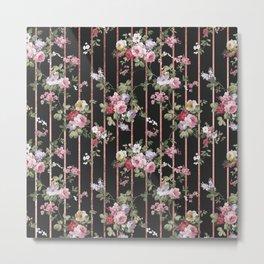 Elegant faux rose gold black stripes vintage blush pink lavender floral Metal Print