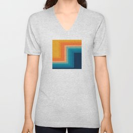Retro 70s Color Lines Unisex V-Neck
