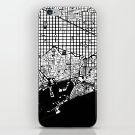 Barcelona city map black and white iPhone Skin