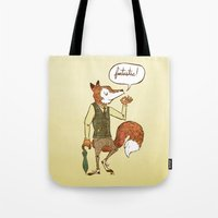 mr fox Tote Bags featuring Mr. Fox by Drew Brockington