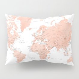 """Rose gold world map with cities, """"Hadi"""" Pillow Sham"""
