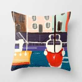 Harbor Boats In A Whimsical English Seaside Town Throw Pillow