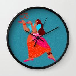 Beautiful Indian girl dancing kathak in saaree Wall Clock