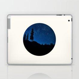 Mid Century Modern Round Circle Photo Blue Star Night Sky Pine Tree Silhouette Laptop & iPad Skin