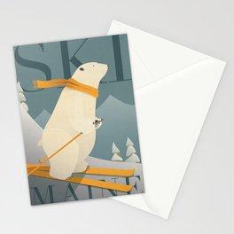 Ski Maine - Skiing Polar Bear Stationery Cards