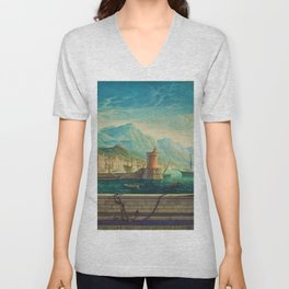 Capriccio of a Mediterranean Seaport Landscape No. 1 by Rex Whistler Unisex V-Neck