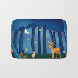 Forest Animals At Night Bath Mat