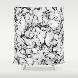 Black and White Stone Shower Curtain