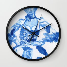 1792 a la campgne -blue ink fashion illustration Wall Clock