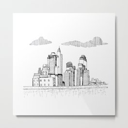 Cityscape - an architectural sketch Metal Print