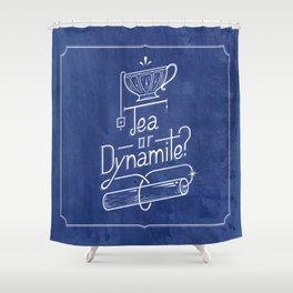 Tea or Dynamite? (blue) Shower Curtain
