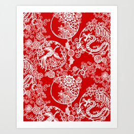 Pieces of China: Clusters (white on red) Art Print