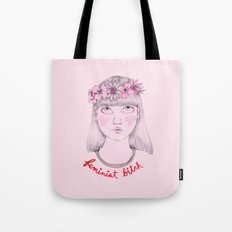 Floral Feminist Bitch Tote Bag