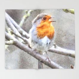 Angelic Robin Watercolor Throw Blanket