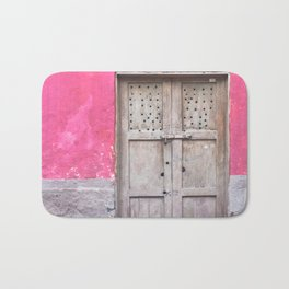 Grey Door on Pink Wall (Retro and Vintage Urban, architecture photography) Bath Mat
