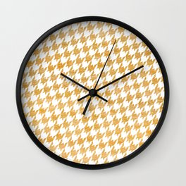Orange Houndstooth pattern Wall Clock