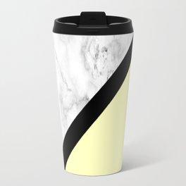 Black and White Marble w/Yellow Travel Mug