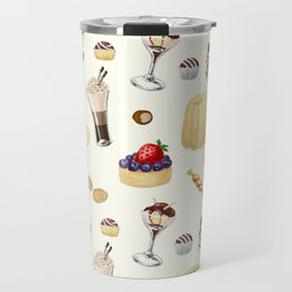 Sweet pattern with various desserts. Travel Mug